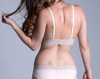 Organic Cotton Panties in Ivory with Cream Lace - 'Narcissus' Style Panty - Custom Fit Made To Order Lingerie
