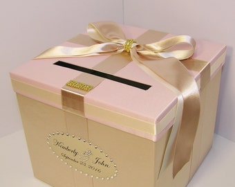 Wedding Card Box Champagne,Blush Pink and Ivory  Gift Card Box Money Box Holder--Customize your color/made to order (10x10x9)