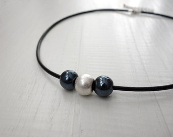 Black leather necklace black cord necklace metal bead necklace black glass beads leather cord necklace for women for men