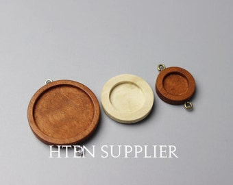 20pcs wood Double buckle 12mm/15mm/25mm Blank Round Pendant Setting 12mm wood trays pendant blank 12mm wood base 12mm wood Bezel Cup