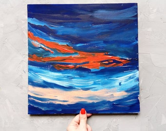 Abstract painting Landscape painting Sky Colorful Acrylic original painting cardboard canvas art