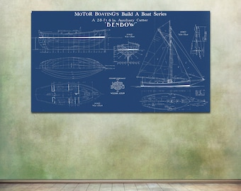 Blueprint art etsy print of vintage benbow boat blueprint from motor boatings build a boat series on your choice malvernweather Image collections