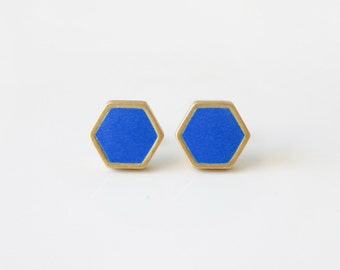 Royal blue hexagon stud earring
