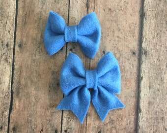 Ocean Blue Felt Bow on Metal Clip, Hair Tie, or Elastic Headband; Buy 3 Get 1 Free! Small Felt Hair Bow, Ocean Blue Hair Bow, Blue Felt Bow