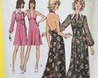 70s Vintage Halter Dress Bolero Jacket Sewing Pattern Simplicity 5561 Complete 1970s Seventies Halter Dress & Bolero Patterns Bust 34