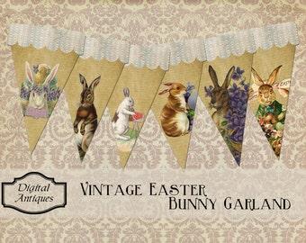 Vintage Easter Bunny Garland Printable Instant Digital Download