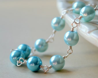 Glass Pearl Bracelet, Aqua Blue Ombre Beads, Tiny Heart Charm, Wire Wrapped, Silver Plated Jewelry