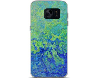 Blue Green Swirl Worn Weathered Distressed Faux Painting Design Samsung Phone Case | Samsung Galaxy S7 , S7 Edge , S8 , S8 Plus , S8+