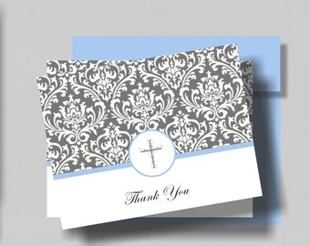 FIRST COMMUNION Thank You Card for Boy Set of 10    Baptism Thank You Folded Notecard   Confirmation Thank You   Matching Invite Available