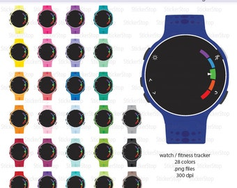 Fitness Tracker Watch Icon Digital Clipart in Rainbow Colors - Instant download PNG files