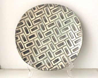 Large Ceramic Plate/Wall Plate: Cream, Gray and Pale Blue