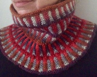Cowl hand knitted, neck warmer, scarf, wool, gift woman, collar sweater, snood, winter accessories,red, neck scarf