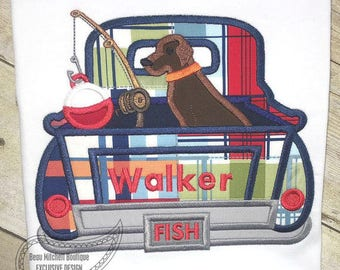 Boy's Fishing Themed Shirt with Lab Dog and Fishing Pole, Custom Applique and Embroidery, Vintage Truck Applique Shirt