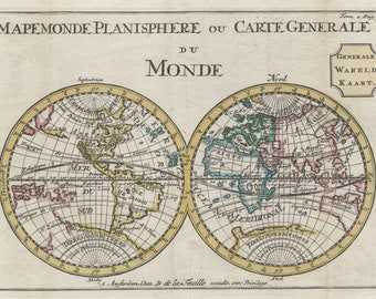 Map Of The World, Hemisphere Projection; Antique Map by Lafeuille, 1706