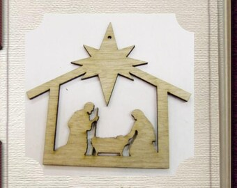 Nativity Ornament - Laser Cut Wood