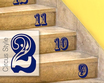 Stairs Stickers, Circus Style Number Stickers - Stairs or Wall Decals, Numbers Home Decor, Baby Nursery, Shown in Navy (0179c36v)