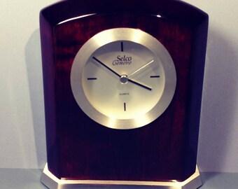 7Hx6Wx2D Boxed Rialto Desk/Mantel Clock by Selco Geneve C627 Rosewood Aluminum Arch Top Quartz Movement Battery Desktop Tabletop Display NOS