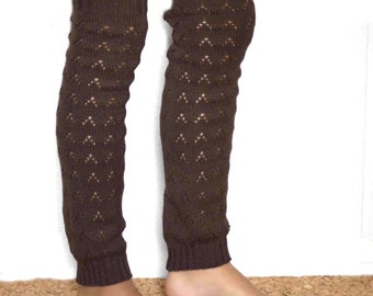 Ballet dance leg warmers/Long  Leg warmers in brown/ Urban clothing / Knit leg wear / lace leg warmers