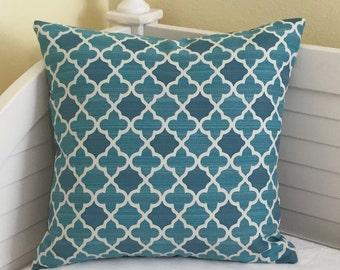 Bella Dura Aquamarine Indoor Outdoor Designer Pillow Cover, Square or Lumbar Sizes