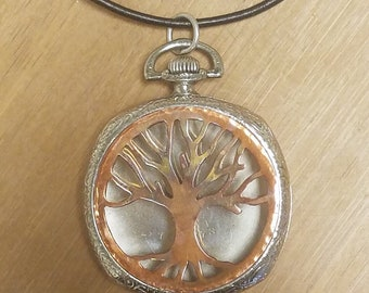 Remembrance Tree of Life Antique Pocket Watch Locket