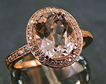 AAA White Topaz   10x8mm  3.33 Carats   in a 14k ROSE gold ring with diamonds (.32ct) Ring MMM