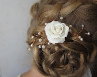 Clay rose, wedding flower hair , flower hair pin, rose hair pin, bridal hair pin, pin with pearls, bridal headpiece, bridal hair accessories