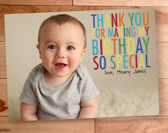 Thank You Photo Cards, Kids Birthday, Boy thank you, Custom Photo Thank You Card, Birthday Thank You, Rainbow, Big Block Letters