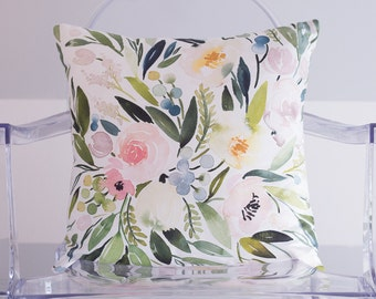 Blush Floral Cluster Watercolor Throw Pillow