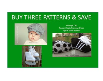 Instant Download - Buy Donegal Cap - Figure Skates - Soccer Cleats Crochet Patterns together and Save