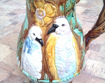 antique bird and foral jug pitcher