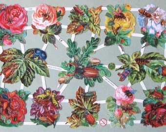 Roses with Insects German Scrap Paper Cutouts with or without Glitter 7338 (1 sheet)