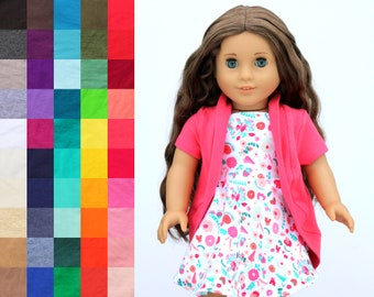 Fits like American Girl Doll Clothes - Tea Cardigan, You Choose Color and Sleeve Length | 18 Inch Doll Clothes