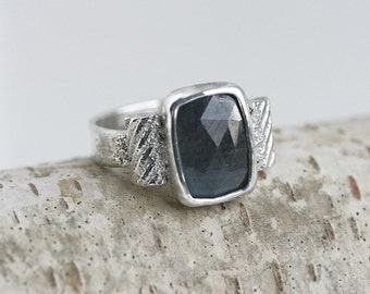 Blue/Grey Natural Colored Sapphire Gemstone Ring Sterling Silver OOAK