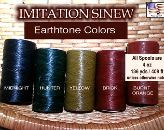 Artificial / Imitation SINEW 4 oz Spool, Waxed, Splittable for Pine Needle Basketry, Leather Craft, Gourd Art, Dreamcatchers, Choose Color