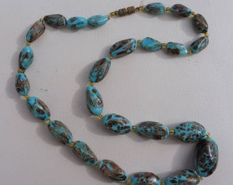 Vintage Turquoise and Copper Graduated Bead Necklace.