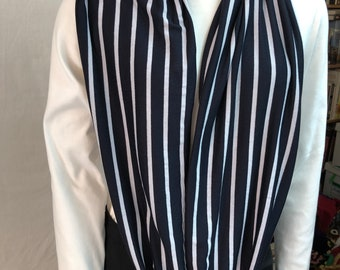 Navy and White Stripe Infinity Scarf, Circle Scarf, Loop Scarf, Long Scarf