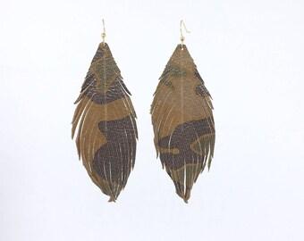 Leather feather earrings Leather feather earrings feather leather earrings leather feathers cammo earrings camouflage leather earrings