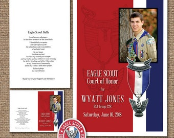 Eagle Scout Court-of-Honor Programs / Matching DESIGN / #EagleScout #DIYprintable #CourtofHonorInvite #CourtofHonorPtogram