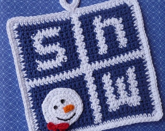 Snow Potholder Crochet PATTERN - INSTANT DOWNLOAD