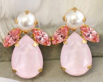 Pink Swarovski Earrings,Powder Pink Crystal Earrings,Bridal Pale Pink Earrings, Pink Bridal Earrings,Rose quartz Stud Earrings,Gift For Her