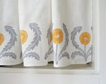Dandelion linen cafe curtains or valance gray yellow green coral taupe 27 x 27 inch modern kitchen home decor two panels hand block printed