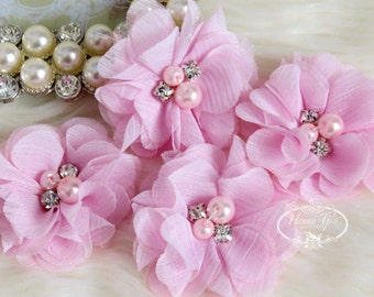 """NEW: 4 pcs Aubrey BABY Light PINK - 2"""" Soft Chiffon with pearls and rhinestones Mesh Layered Small Fabric Flowers, Hair accessories"""