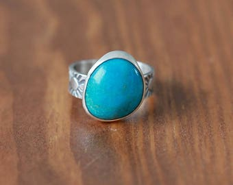 Blue Kingman Turquoise Ring, Sterling Silver Ring - Size US 7