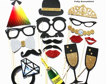 Photo Booth Props - 18 Piece Wedding Party Favor Set - Bridal Shower Photobooth Wedding Photo Props