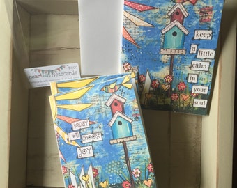 Birdhouse Notecards, Bird Notes, Mixed Media Notecards