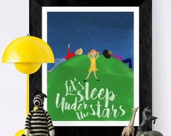 Nursery print - Stars and constellations - let's sleep under the stars - stargazing - hand drawn -  watercolor illustration - nursery print