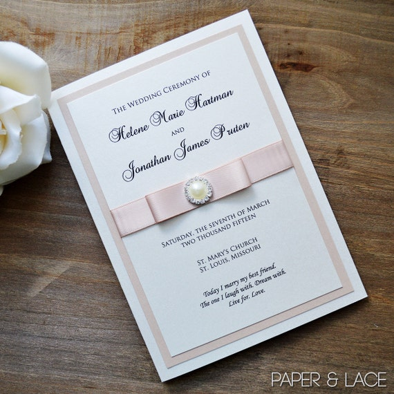 Wedding Program with Pearl Button and Satin Bow - Ivory or White Shimmer Folding Program - Custom Accent Colors and Wording