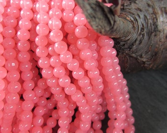 40 Bubble gum pink glass beads 6mm jewelry making supply 206mm05