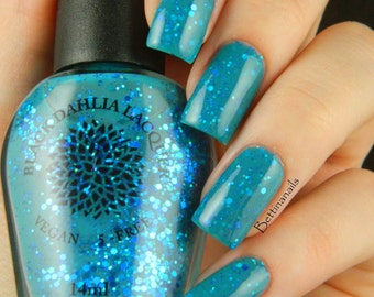 Blue Green Jelly Glitter Nail Polish - Glass Orchid - by Black Dahlia Lacquer - vegan, 5-free and handmade