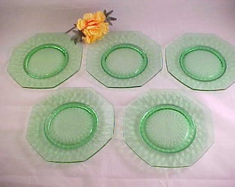 Vintage Fenton Diamond Optic Green Bread and Butter Plates (5), Elegant Glassware of Depression Era Plates, 1930s Collectible Glassware